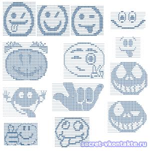 Рисунки символами Вконтакте - смайлики